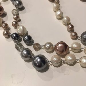 LOFT Long Beaded Faux Pearl Necklace